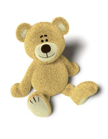 oso caricatura: Un oso de peluche lindo se sienta en el piso y busca en la camera.Isolated sobre fondo de contundencia con sombras suaves.