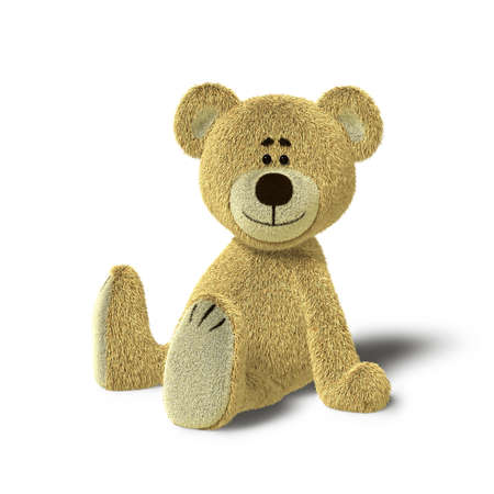 A cute teddy bear is sitting on the floor, supporting himself with both hands. He looks towards the camera and smiles. The image is isolated on white background with soft shadows. Stock Photo - 8352406