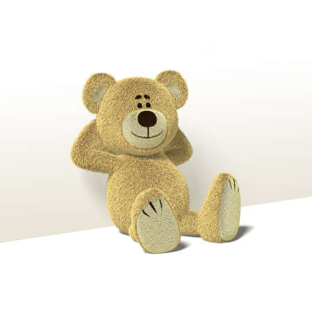 arms behind head: A cute teddy bear relaxes sitting on the floor,leaning against a wall while folding his arms behind his head. He looks towards the camera and smiles. Front view also available. The image is isolated on white background with soft shadows. Stock Photo