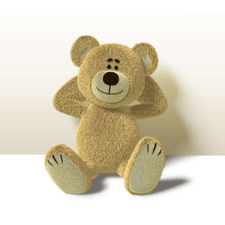 A cute teddy bear relaxes sitting on the floor,leaning against a wall while folding his arms behind his head. He looks towards the camera and smiles. Side view also available.
