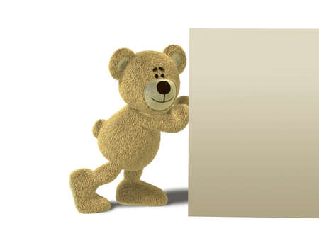 pushes: A teddy bear smiles while he pushes a big solid wall with his hands. This image is isolated on a white background with soft shadows.