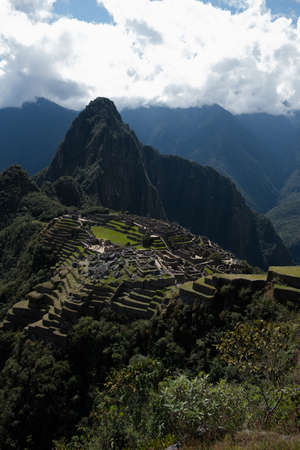 amazing view over the ruins of machu picchu