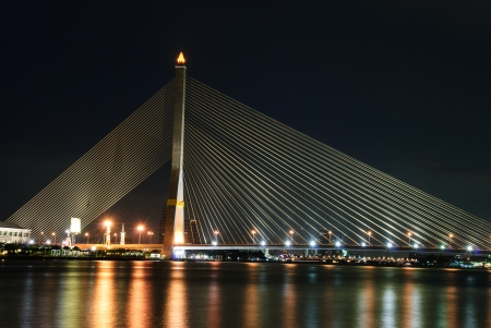 viii: Rama VIII Bridge nightscape, Bangkok, Thailand