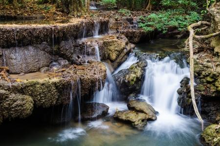 Huay Mae Khamin Waterfall in Kanchanaburi Province, Thailand Stock Photo - 20321872