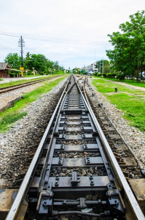 contryside: Railway tracks in the contryside of Thailand Stock Photo