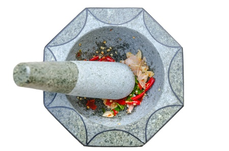 Stone mortar and pestle with Fresh chili and garlic on isolated background photo