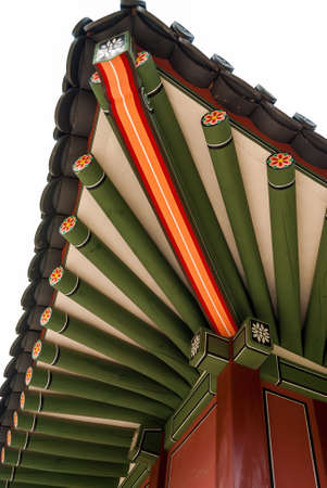 Close-up traditional korea temple roof photo