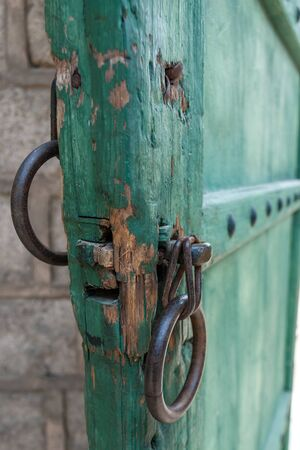 Close-up Old buddhist temple door handle in South Korea photo