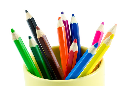 Close-up color pencils on isolated background photo