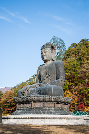 Buddha statue at Shinheungsa Temple in Seoraksan national park, South Korea photo