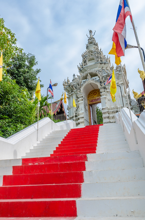 Entrance ladder of Wat Phra That Cho Hae (the Royal Temple), Phrae Province, Thailand photo