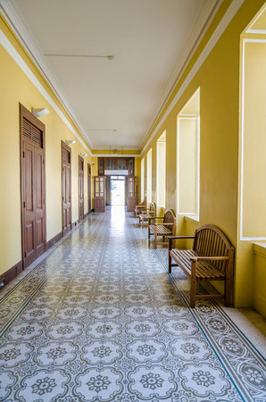 Empty long hallway
