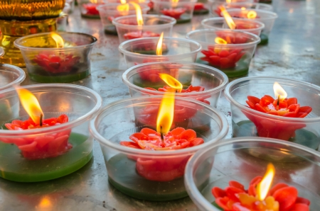 Flower candle in Chinese temple Stock Photo - 25318266