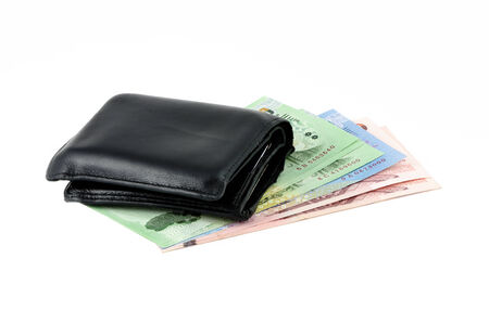 Black leather wallet and bank note photo