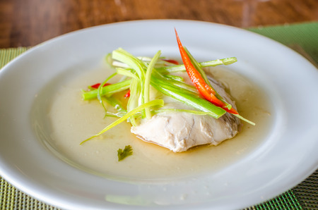 bluefish: Sable fish steamed in soy sauce Stock Photo