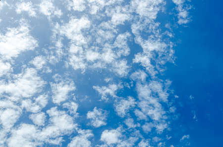 Puffy clouds and blue sky in sunny day photo