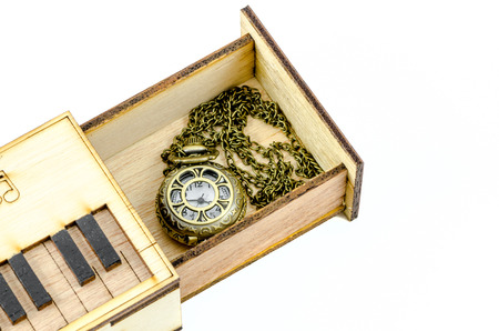Clock Locket Necklace in wooden box isolated over white background