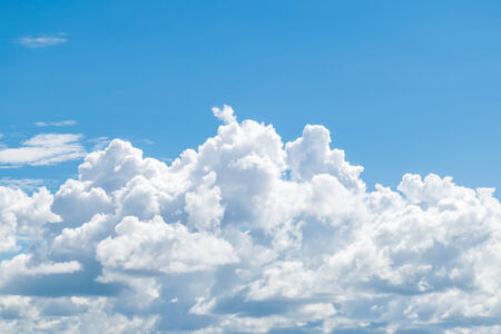 ozone layer: Puffy clouds and blue sky in sunny day Stock Photo