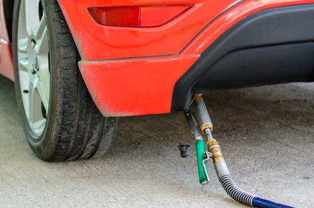 ngv: Car fill up LPG at gas station Stock Photo
