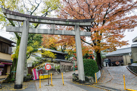 reachable: Torii gate at Fushimi Inari-taisha shrine in Kyoto, Japan on November 26, 2014. The inner shrine is reachable by a path lined with thousands of torii