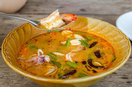 seafood soup: Hot and sour seafood soup (Tom Yam)