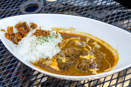 Traditional Japanese curry rice with beef photo