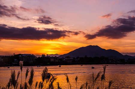 kawaguchi ko: Lake Kawaguchi at the sunset, Kawaguchi-ko, Japan Stock Photo
