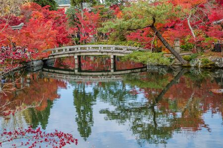 koyo: Autumn foliage at the stone bridge in Eikando Temple, Kyoto, Japan