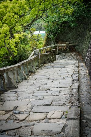 concrete steps: Stone brick ladder walkway on hill Stock Photo