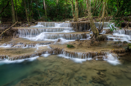khamin: Huai Mae Khamin Waterfall in Kanchanaburi, Thailand Stock Photo