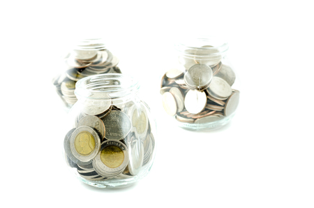 money jar: Money jar with thai coin on isolated background