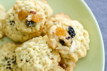 fruitcake: Homemade Fruitcake Cookies on green plate