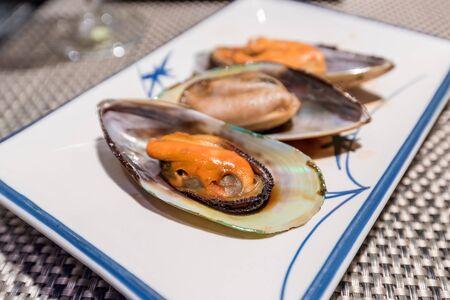 newzealand: Newzealand mussel teppanyaki on white dish