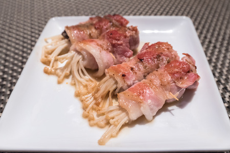 mushroom wrapped in bacon teppanyaki