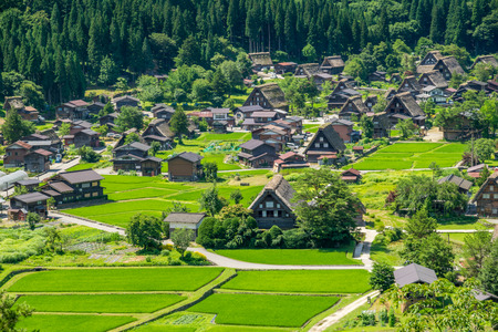shirakawago: Shirakawa or Shirakawa-go, A Small traditional Historic villages in summer Season, Gifu, Japan