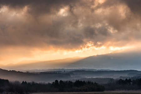 Sunrise at foothill of Mt. Fuji with cloudy weather