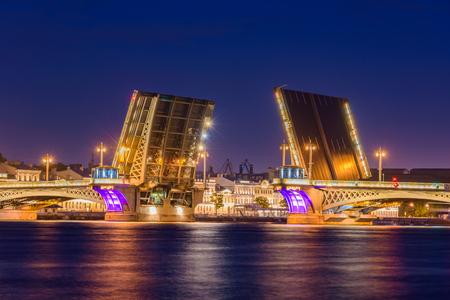 Open Blagoveshchensky Bridge. The first permanent bridge across the Neva River in Saint Petersburg, Russia