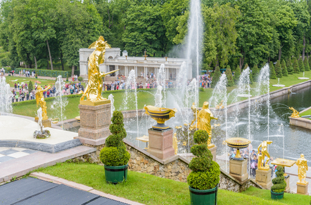 referred: Saint Petersburg, Russia - July 11 : Grand Peterhof Palace and the Grand Cascade. These palaces and gardens are sometimes referred as the Russian Versailles