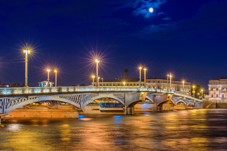 Blagoveshchensky Most or Annunciation Bridge. The first permanent bridge across the Neva River in Saint Petersburg, Russia