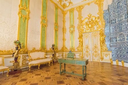 Saint Petersburg, Russia - July 12, 2017:  Interior of Catherine Palace, a Rococo palace in Tsarskoye Selo, Saint Petersburg, Russia