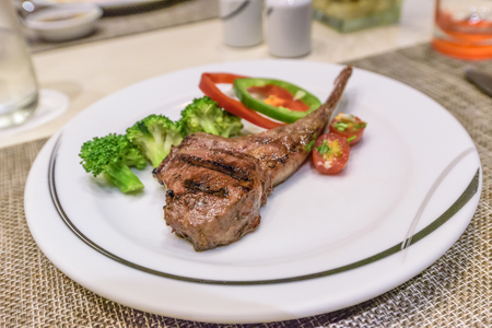 Lamb Rack Steak Recipe on white plate