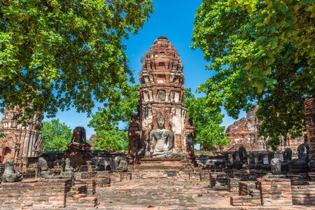 Old Ruin Stupa Stupa at Wat Mahathat  (Temple of the Great Relic) in Ayutthaya, Thailand
