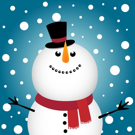 snowman background: Happy Christmas snowman Illustration
