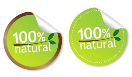 100% natural stickers Stock Vector - 11218551
