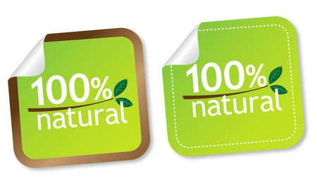 100% natural stickers Stock Vector - 11218507