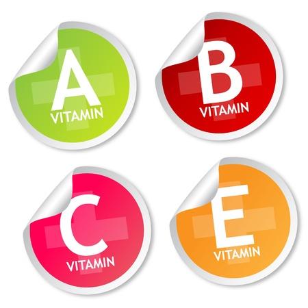 La vitamine A, B, C et E autocollants