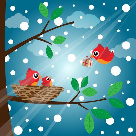 Christmas birds family Vector