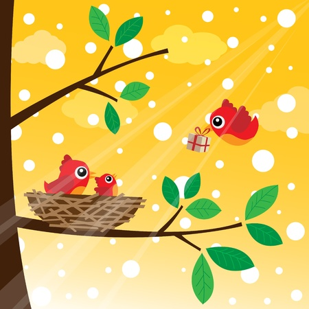 animal nest: Christmas birds family