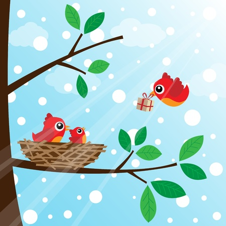 Christmas birds family Vector