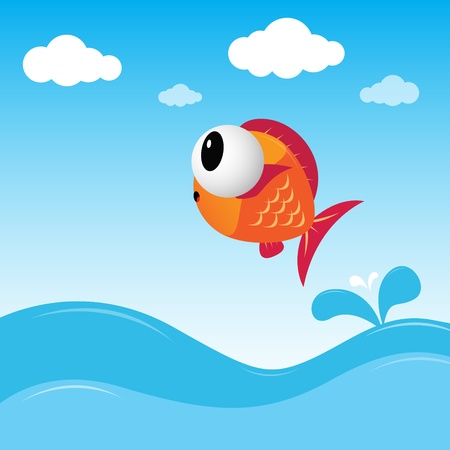Fish jumping out of the water Illustration